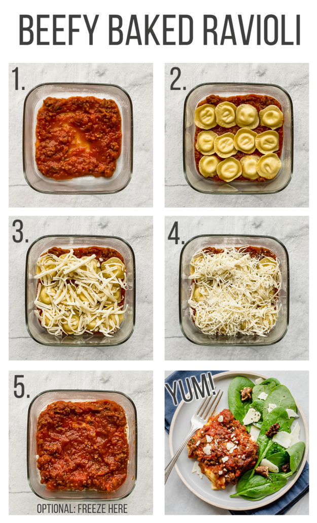 Step by step images for beefy baked ravioli