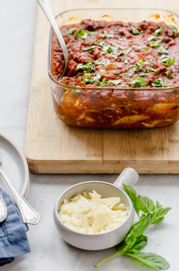 Beefy Baked Ravioli in a baking dish