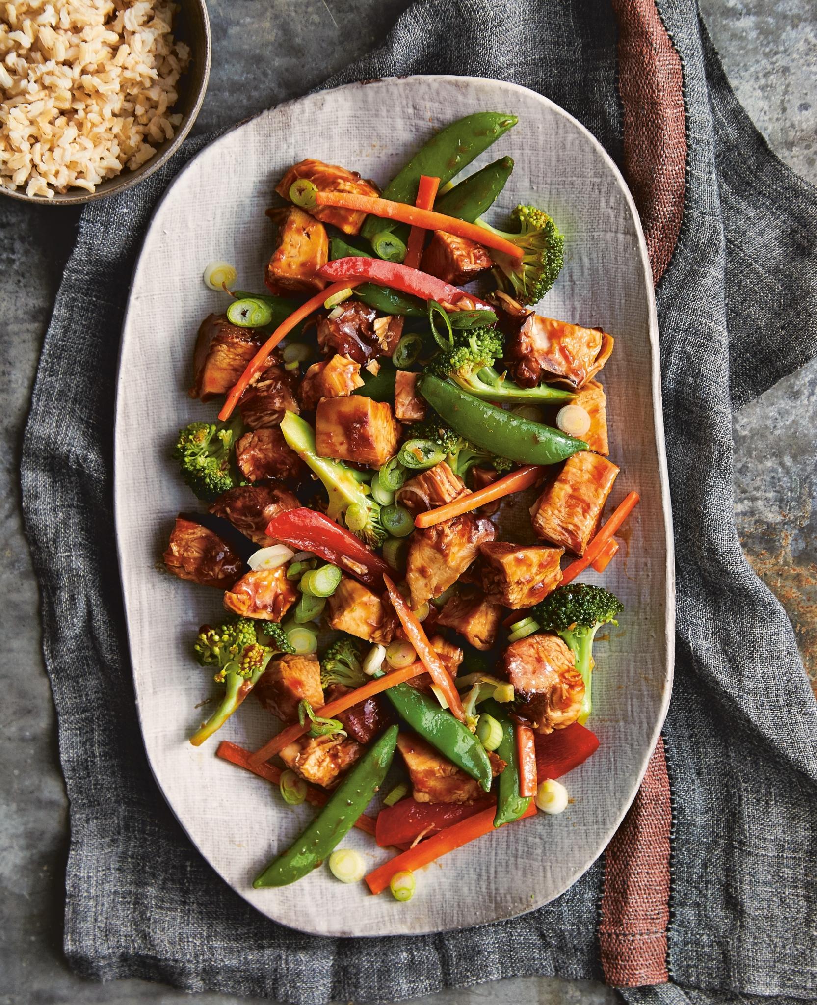Honey Bourbon Chicken and Stir Fry Vegetables on a large white platter