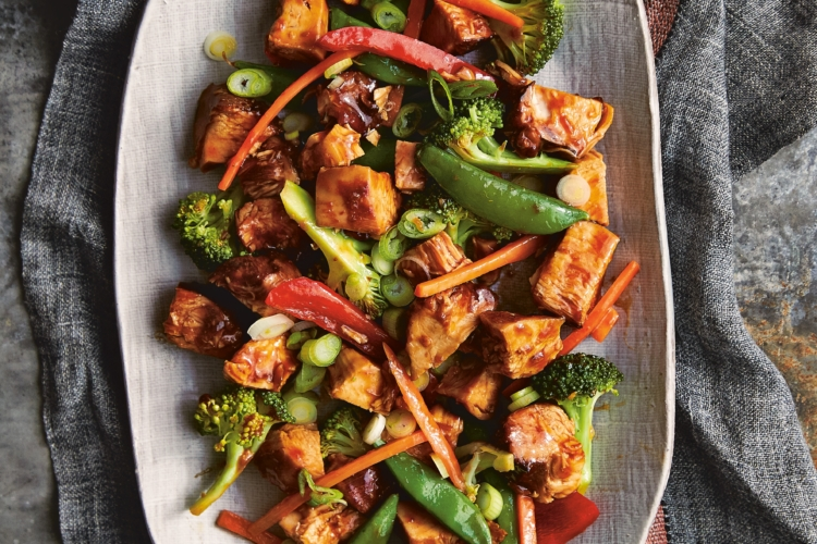 gluten-free Honey Bourbon Chicken and Stir Fry Vegetables on a large white platter
