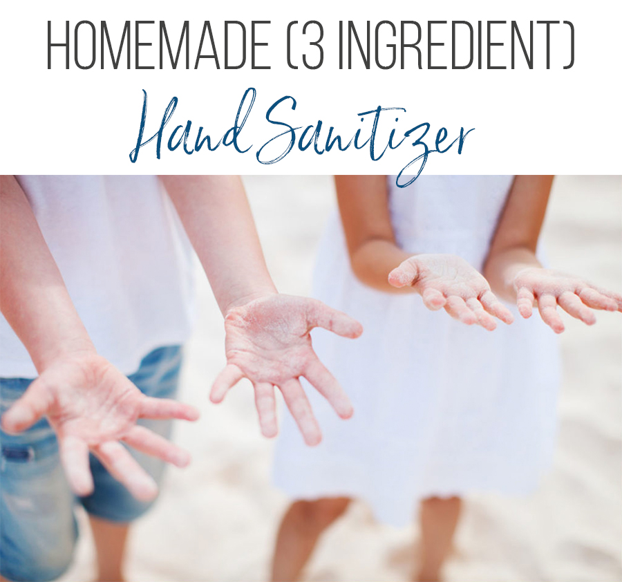 hand sanitizer on kids hands