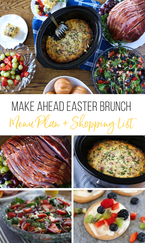 collage image of Easter lunch recipes that you can make ahead