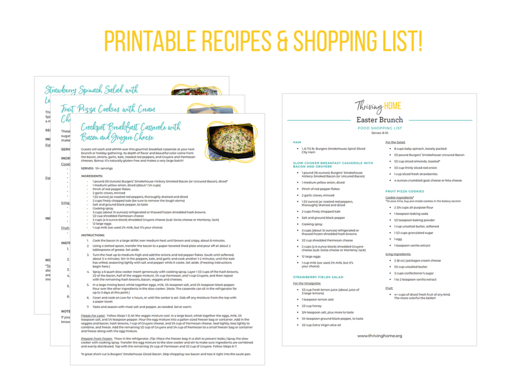 Make ahead Easter brunch recipes and shopping list printable