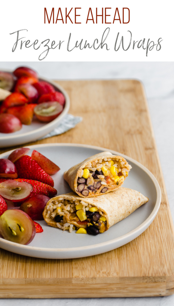 fruit and tortilla wraps on plates