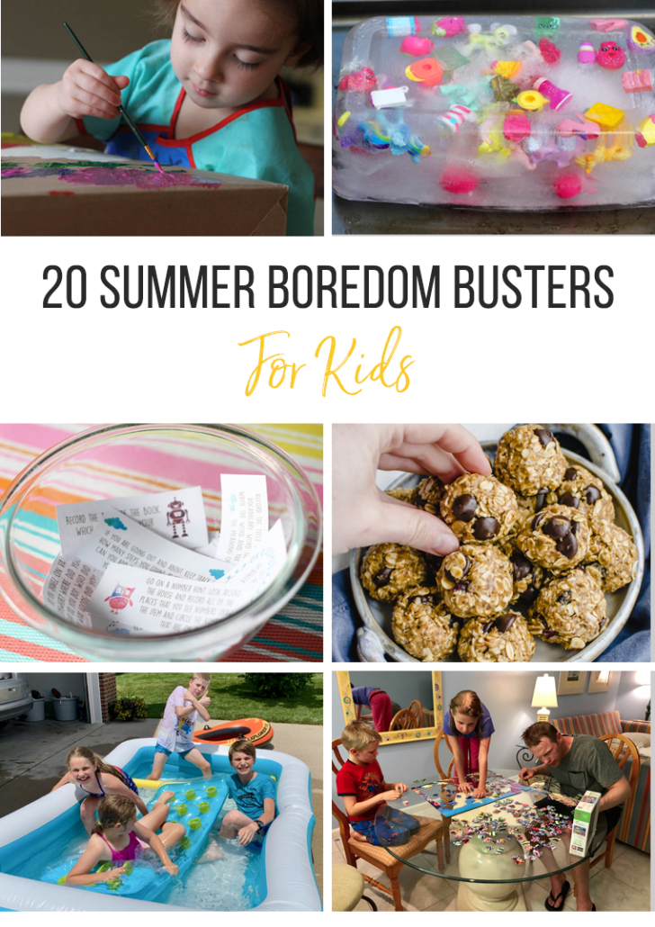 collage Image of boredom busters for kids