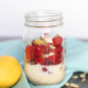 Raspberry Lemon Overnight Oats in a mason jar