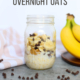 oats, peanut butter, chocolate chips, and bananas in mason jar on a counter