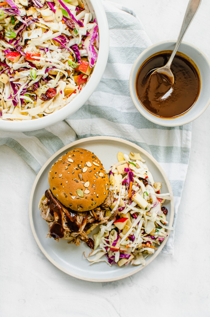 BBQ Pulled Pork on a plate with asian slaw