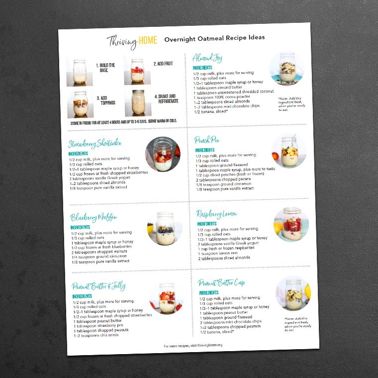 free printable of 7 Overnight Oats Recipes