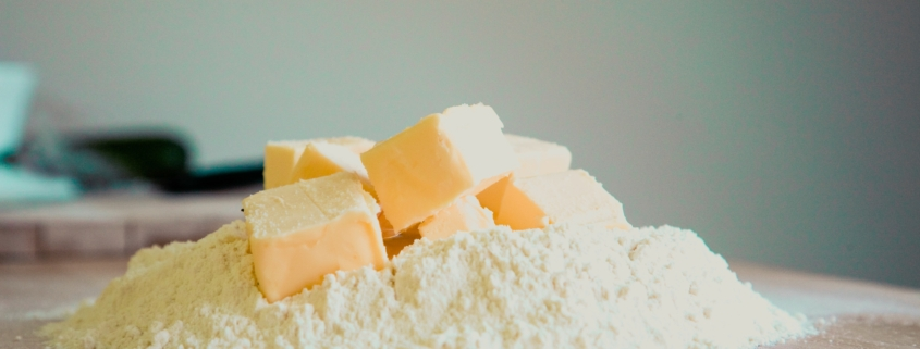 chunks of butter in flour