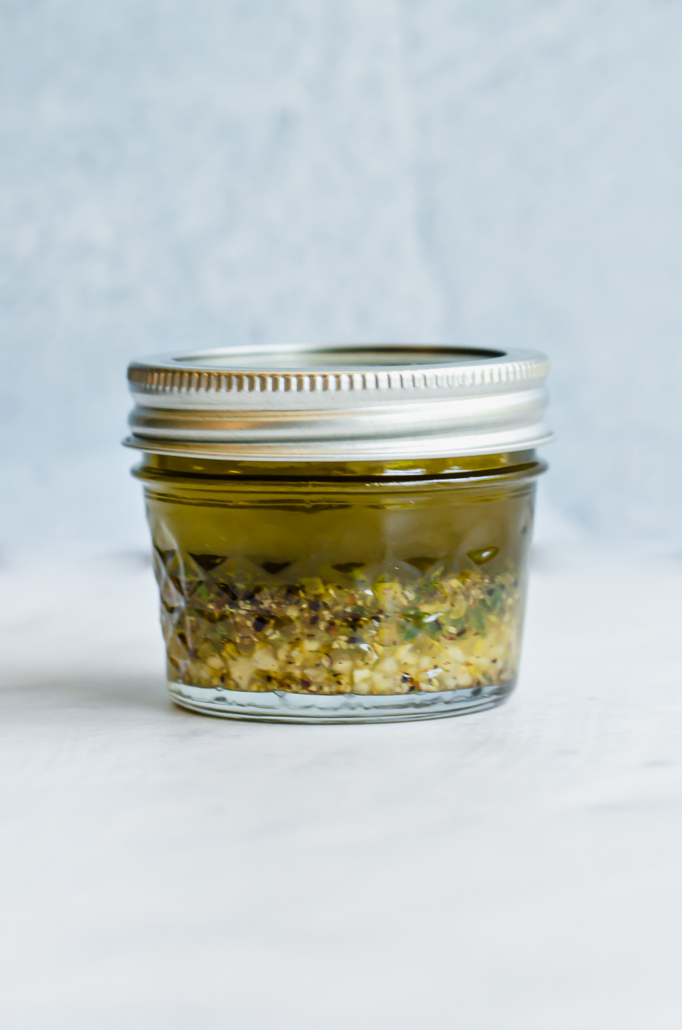 lemon garlic marinade in small mason jar