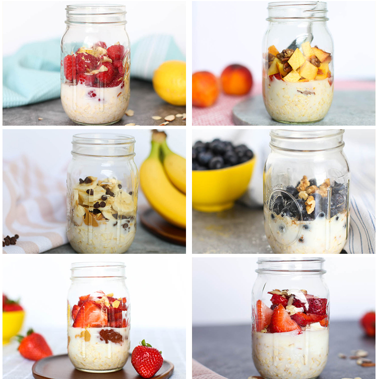 6 mason jars with various overnight oats in them