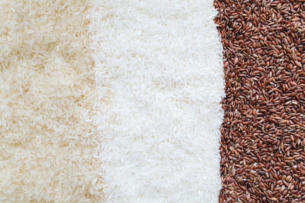 three varieties of rice