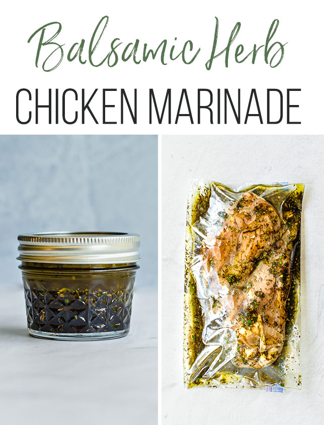 chicken breasts in freezer bag with balsamic marinade and marinade in a mason jar