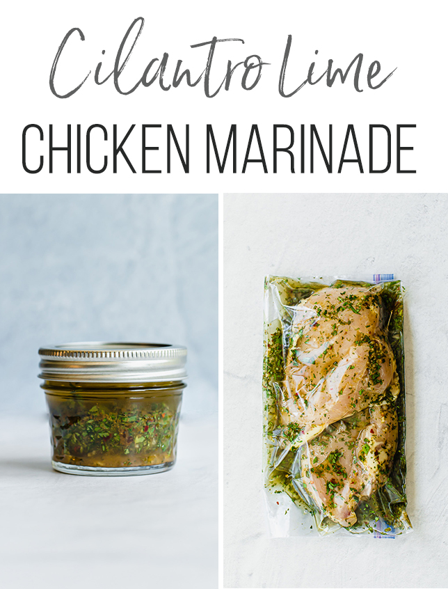 marinade in a mason jar and marinade and chicken in freezer bag
