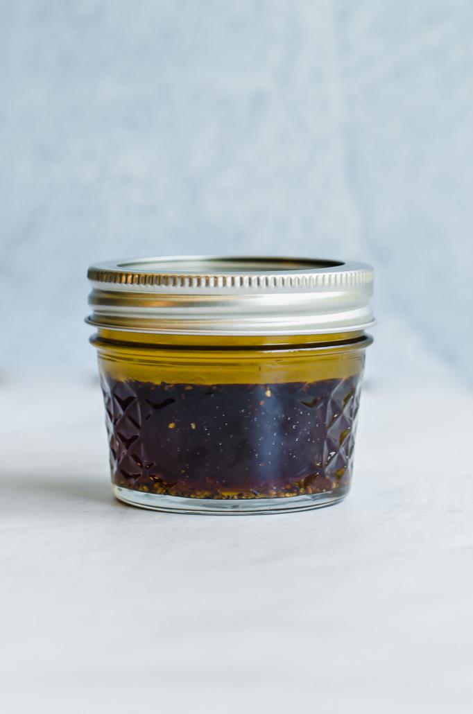 Asian marinade in a small mason jar
