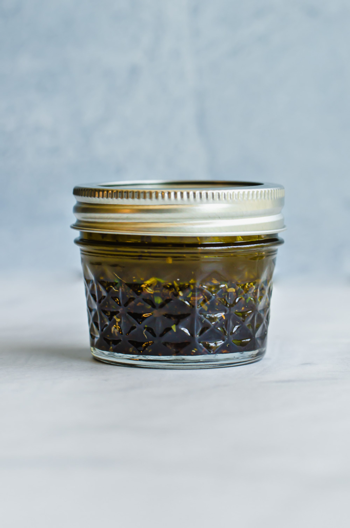 balsamic herb marinade in a mason jar