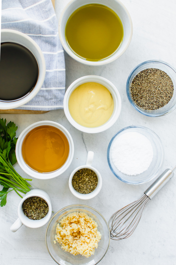 ingredients on a counter in individual bowls