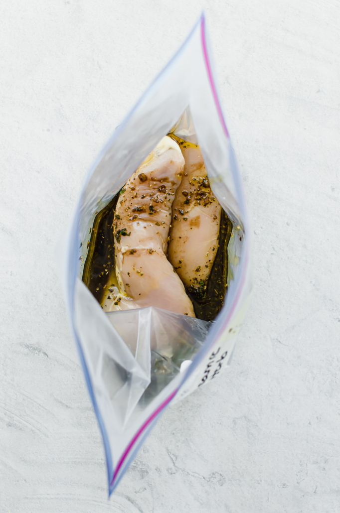 chicken breasts in freezer bag with balsamic marinade