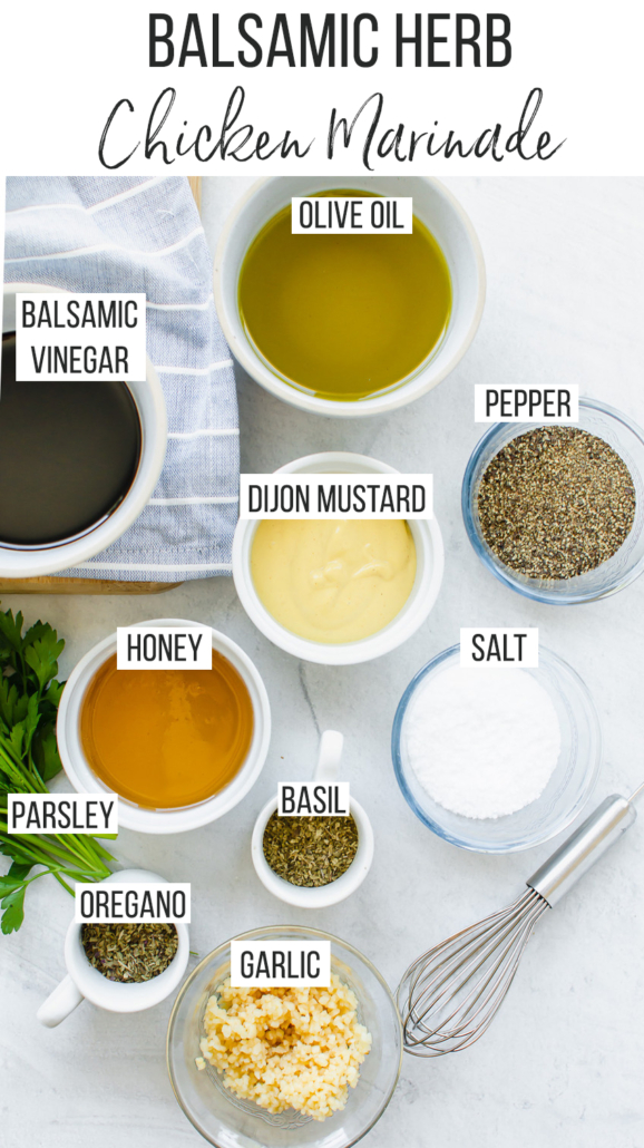 ingredients for balsamic herb marinade