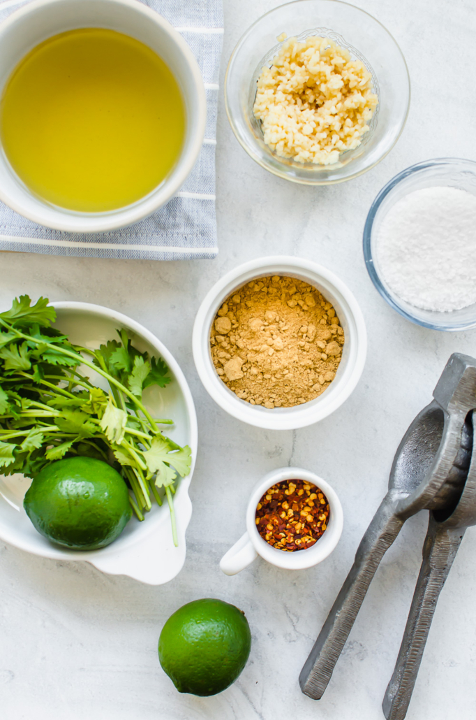 ingredients for cilantro lime chicken marinade on a table