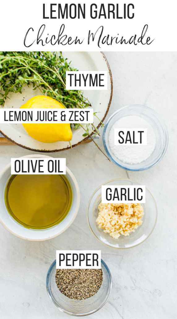 Fresh lemon, garlic, thyme, salt, and olive oil in small bowls