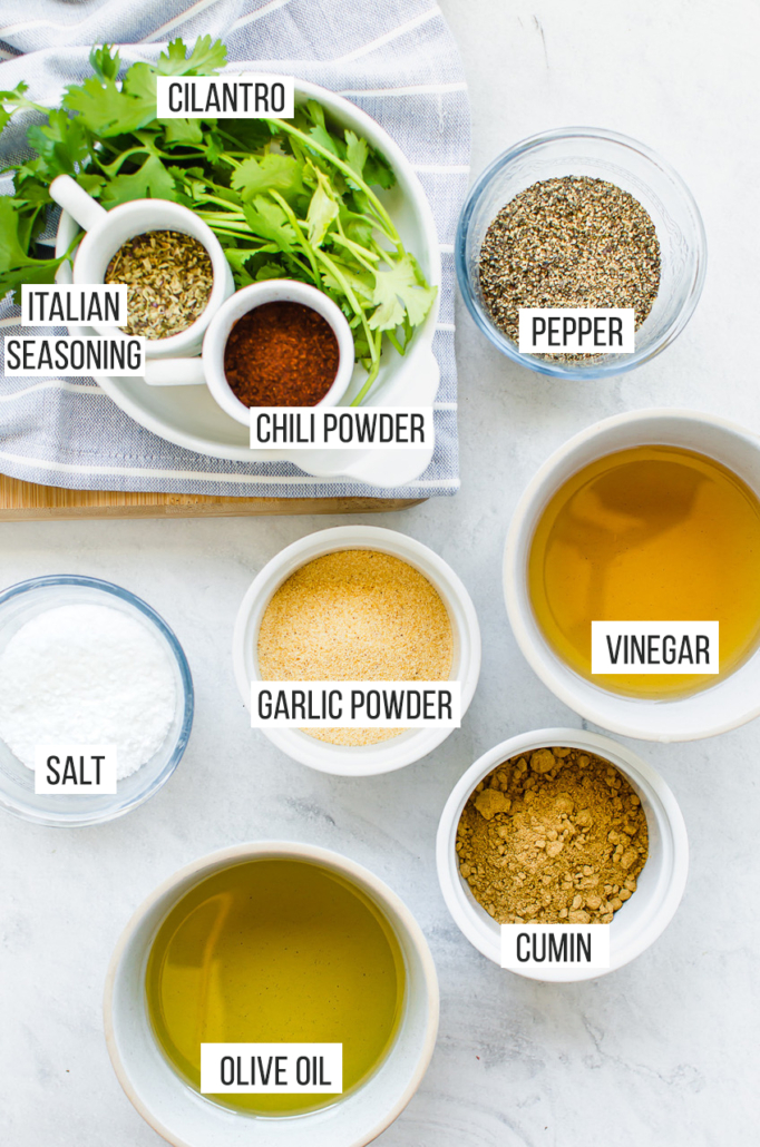 ingredients for chicken marinade on a counter