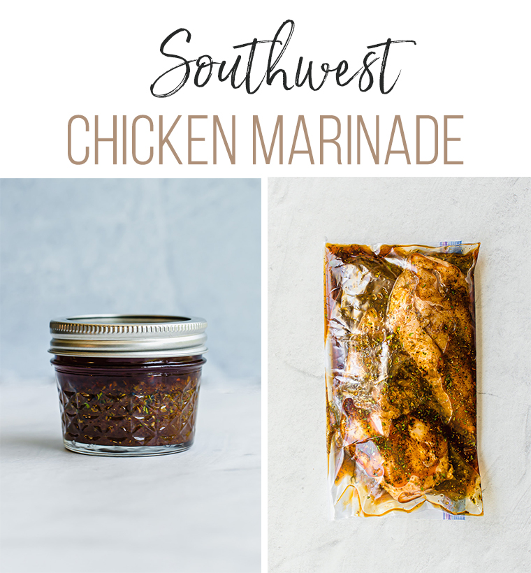 chicken marinade in a small mason jar and in a freezer bag with chicken