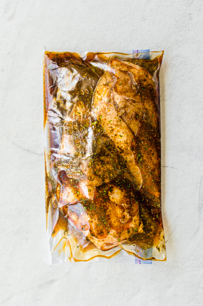 southwest chicken marinade in a freezer bag with chicken breasts