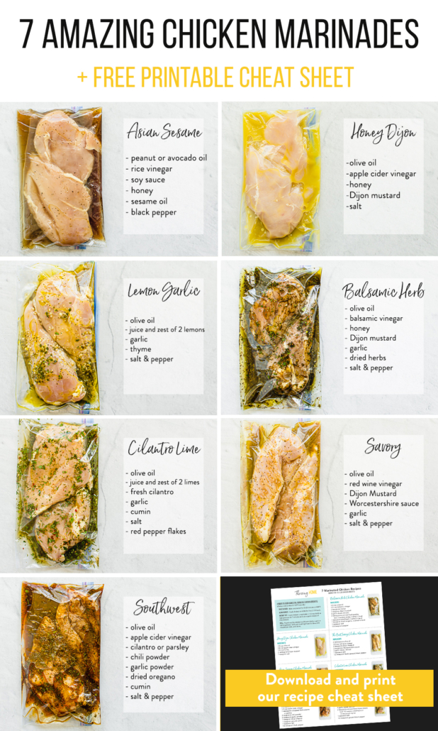 chicken breasts in marinades in freezer bags