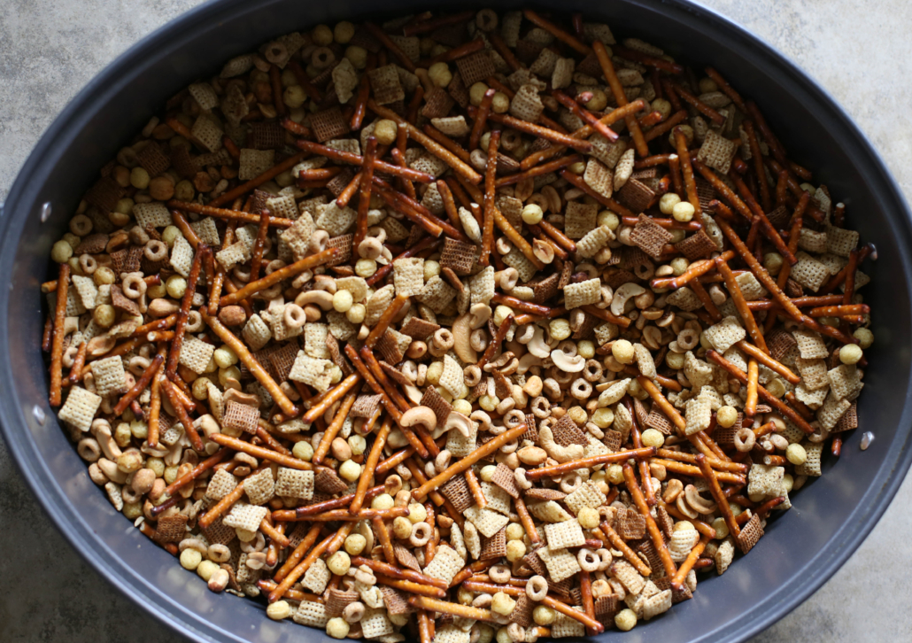 Finished Homemade Chex Mix in a large roasting pan