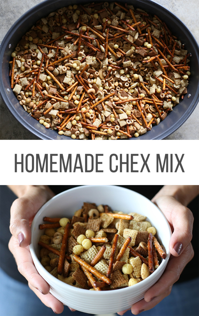 Homemade Chex Mix in a large roasting pan