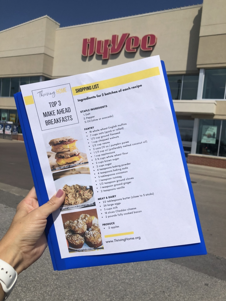 Shopping list in front of Hy-Vee Store
