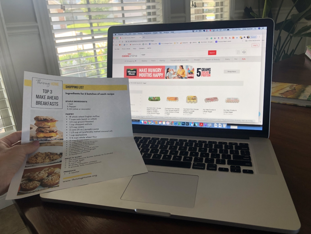 Shopping list with Hy-Vee Aisles online