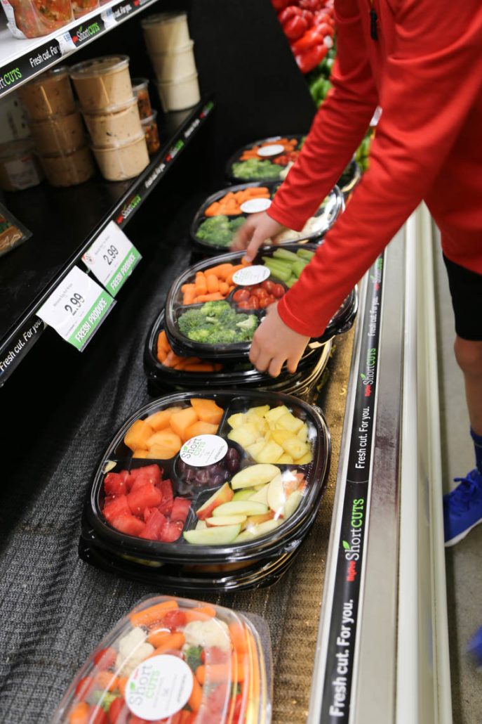 pre-made veggie trays and fruit trays at Hy-Vee