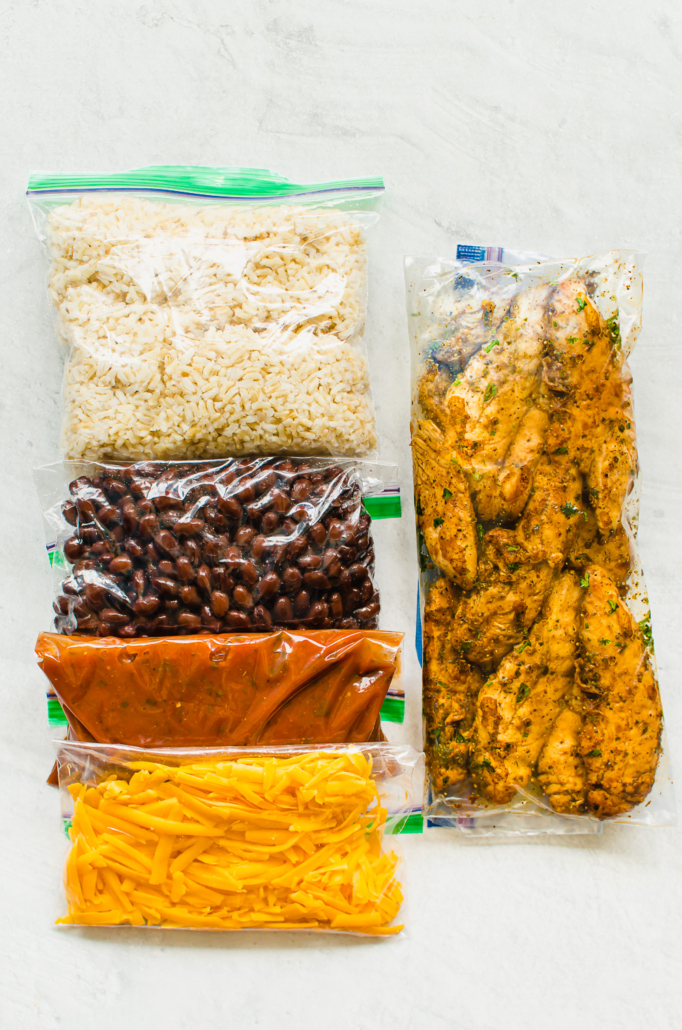 Ingredients meal prepped chicken for burrito bowls