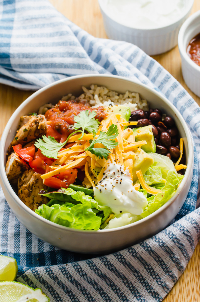 Chicken Burrito Bowl with fresh toppings
