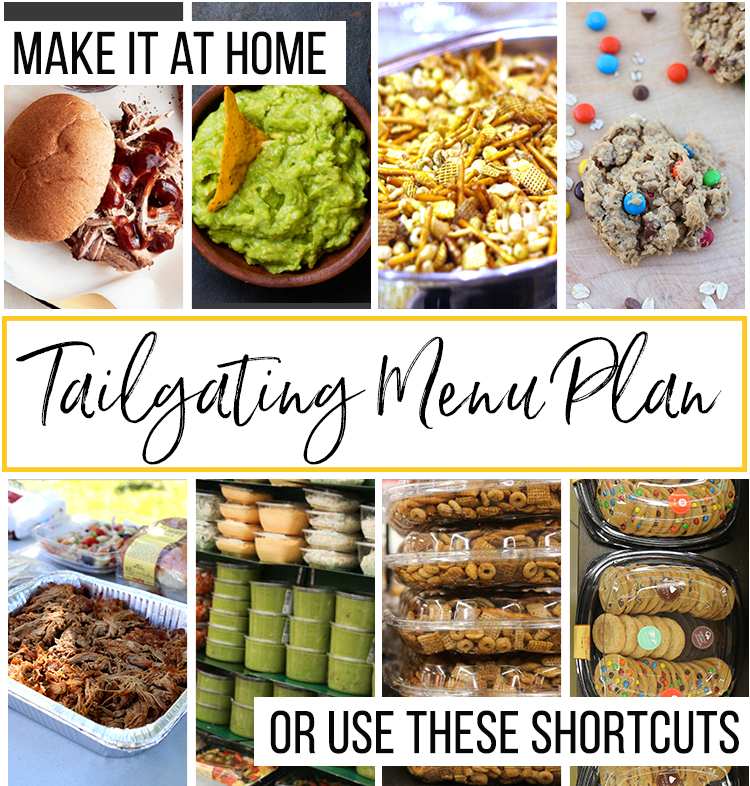 tailgating menu plan, including images of pulled pork, guacamole, chex mix, and cookies