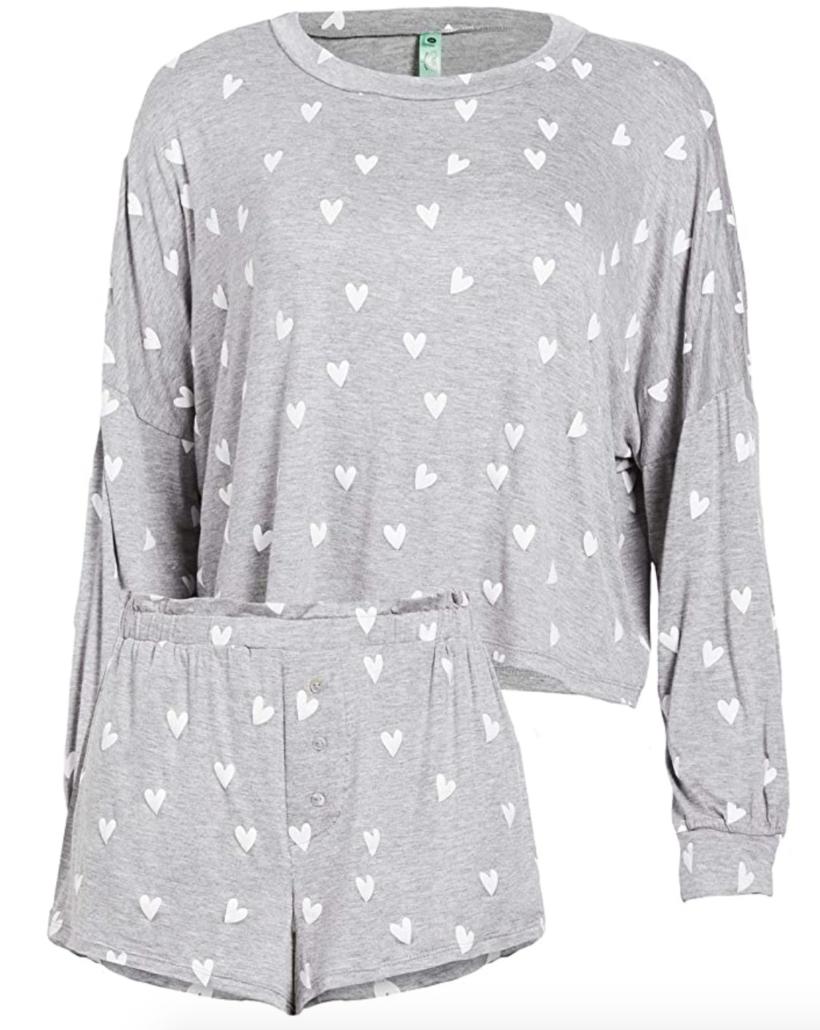 Grey pajamas with white hearts