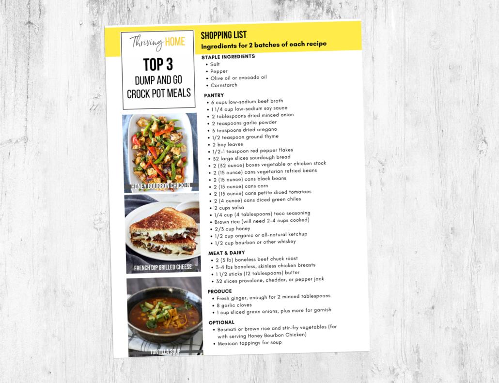 shopping list for dump and go crock pot meals