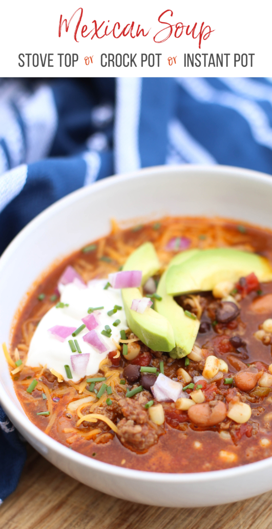Mexican Soup in a white bowl