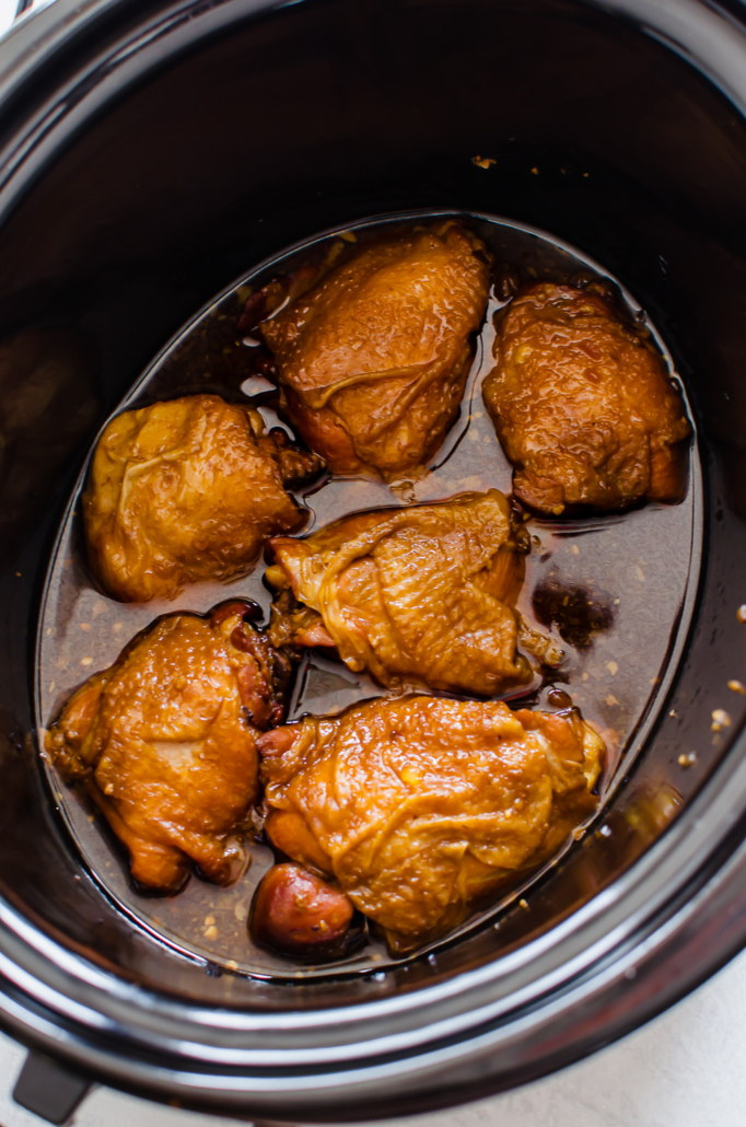 Teriyaki chicken thighs in a slow cooker