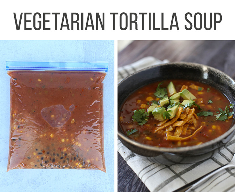 vegetarian tortilla soup freezer meal and finished dish