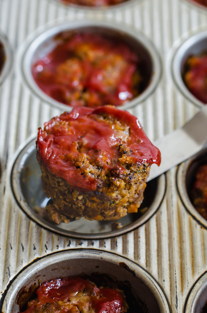 mini meatloaf in a muffin tin