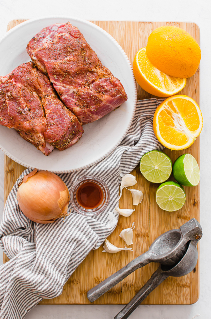 Ingredients for slow cooker carnitas