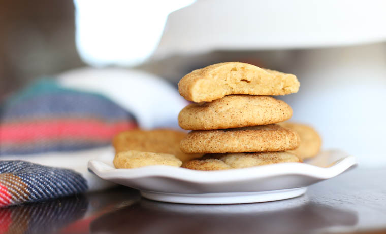 Snickerdoodle cookies stacked