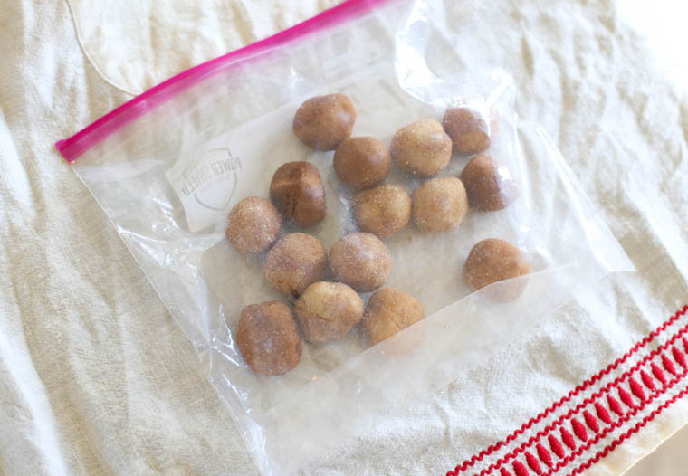Snickerdoodle cookie dough in a freezer bag