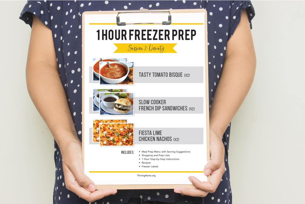 Hands holding a 1 hour freezer prep session