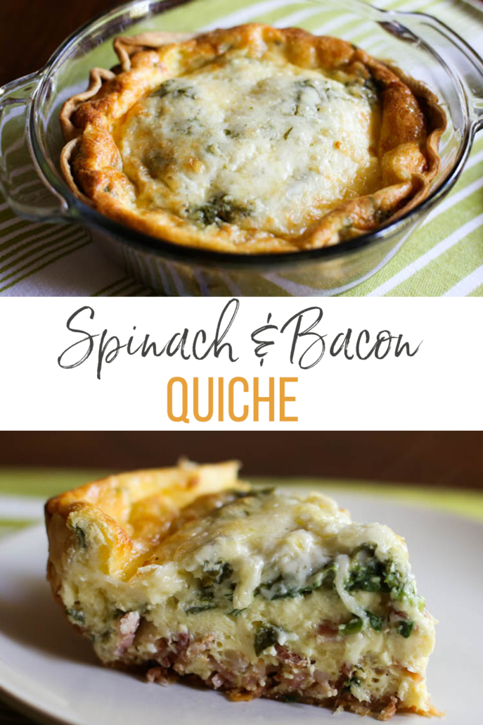 baked quiche in a glass dish and a slice of spinach bacon quiche on a plate