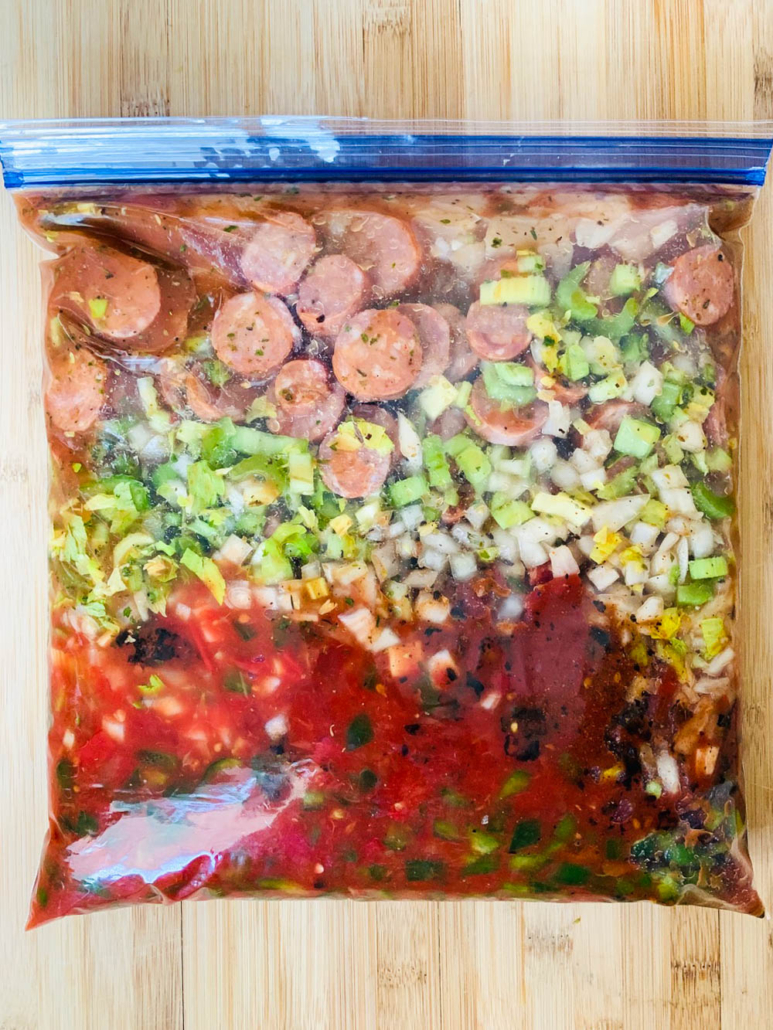 Jambalaya with chicken and andouille sausage in a freezer bag